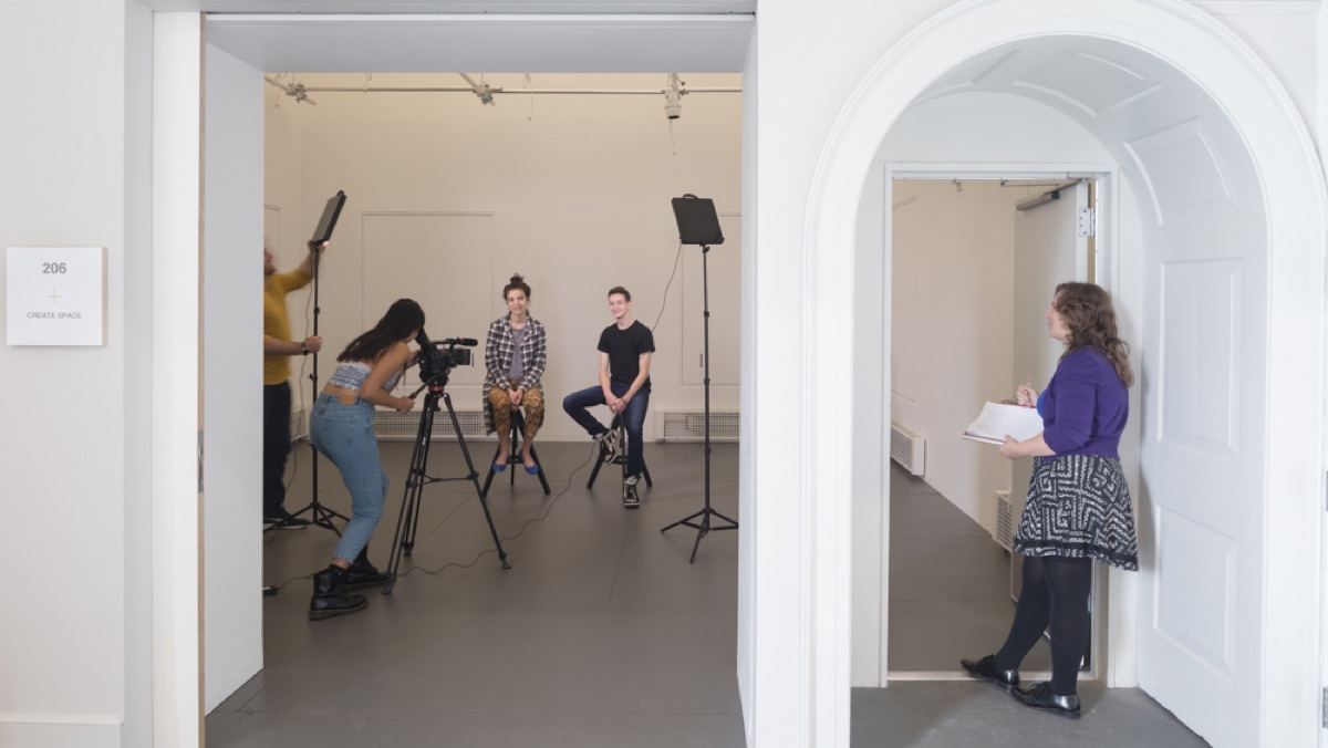 Students filming in Create Space 206