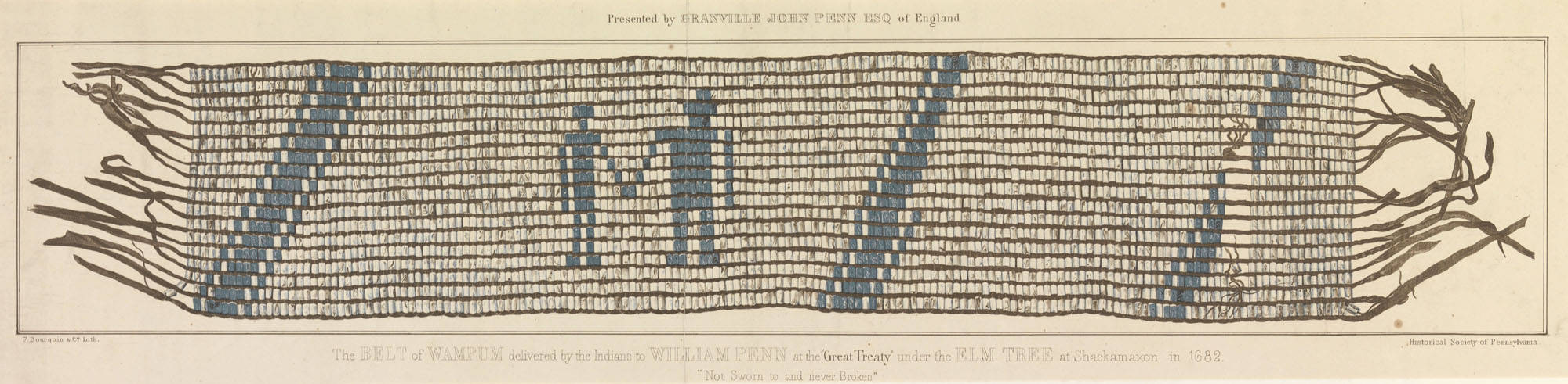 Woven piece of art showing two people holding hands