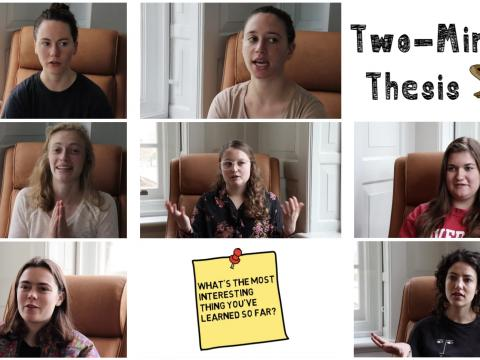 Eight screenshots of interview videos arranged in a block with the Two-Minute Thesis title and a squirrel image in the upper right corner