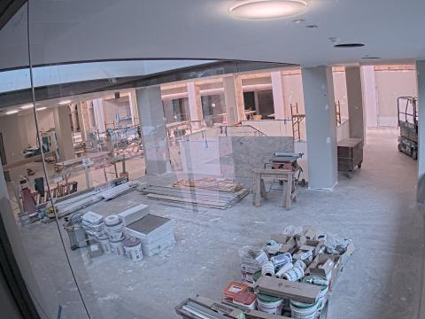 Interior of the library under construction.