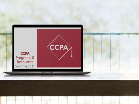 a latop in the sunshine with CCPA on the screen
