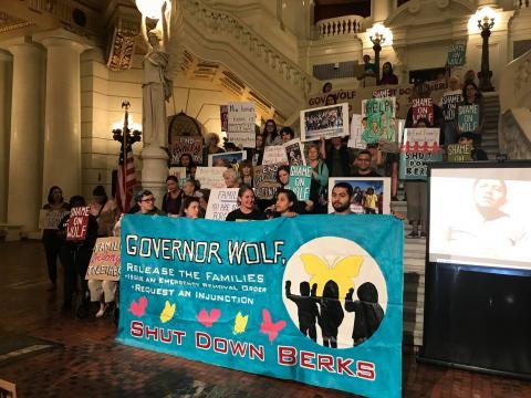 Jason Sanchez '18 with Shut Down Berks Coalition in Harrisburg. Photo via Shut Down Berks Coalition's Facebook page.