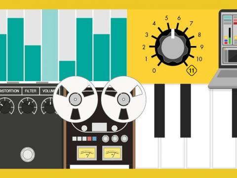 illustration of controls for music production environment