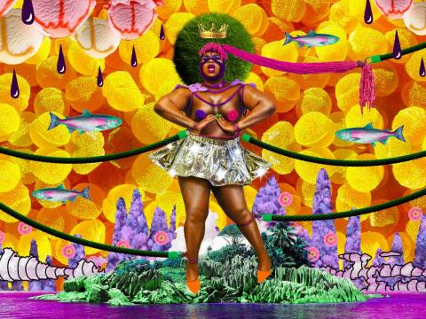 an epic ebony queen dominates a surreal landscape with her shrubbery afro, floating crown, and colorful garb
