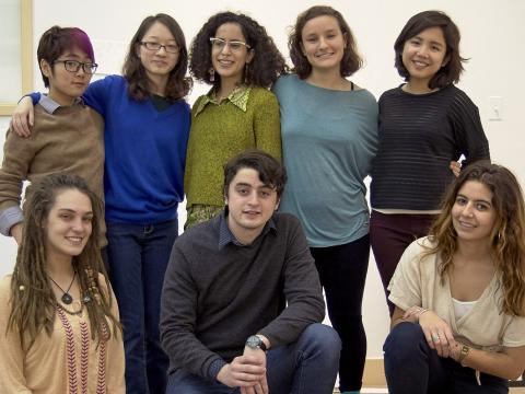Fine Arts senior thesis students posing in studio