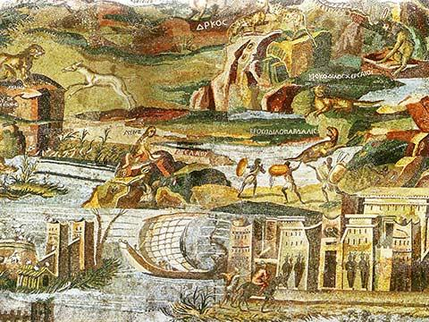 a late Hellenistic floor mosaic depicting the Nile in its passage from the Blue Nile to the Mediterranean
