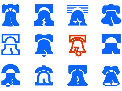 collage of simple illustrations of the liberty bell