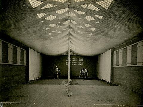 A view of the interior of a cricket shed, 1901