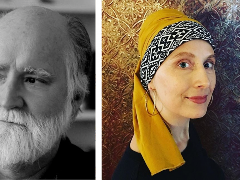 Black-and-white headshot of Nicholson Baker and a portrait of Anya Krugovoy Silver wearing a colorful headwrap