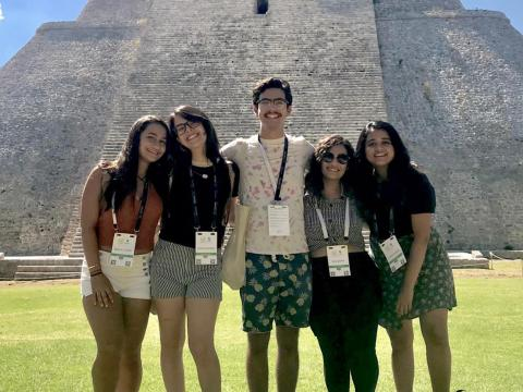 The five students at the Mayan ruins at Uxmal