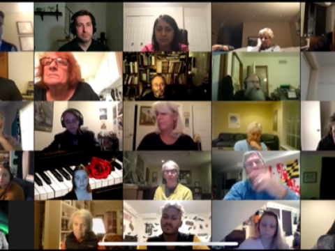 "A Zoom grid of singers rehearsing Bach's ""Dona nobis pacem"""