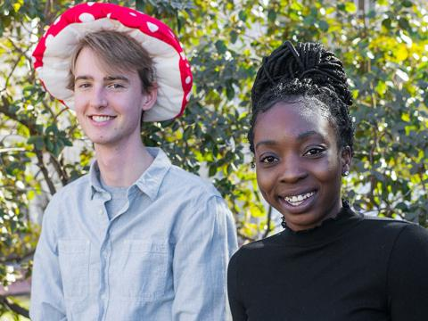 Owen Janson, in a mushroom hat, and Tosin Alliyu