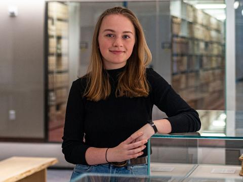 Alex Stern in the library gallery where she curated a new exhibit of 15th-century books