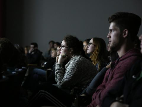 Viewers at a film screening