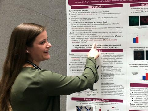 Alison Gibbons stands points at the neuroscience poster she co-authored