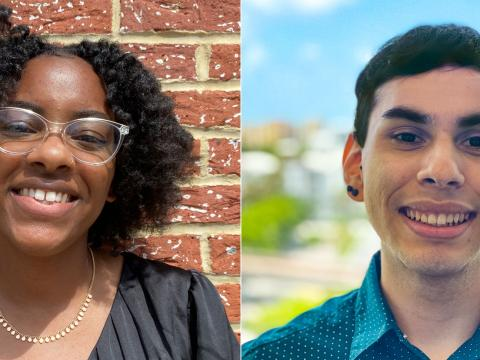 Two headshots of Camille (on the right), photographed wearing glasses posing against a brick wall, and Daniel (on the left) wearing a blue collared shirt and posing outdoors.