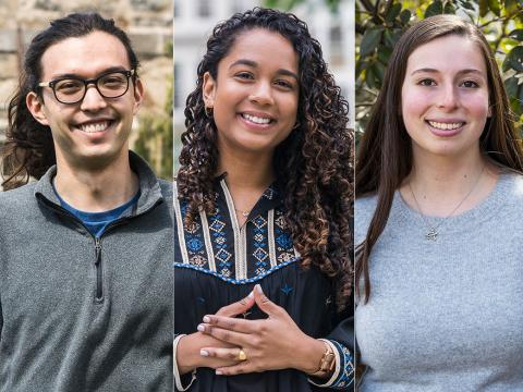 Headshots of the five Fulbright Scholars from the Class of 2019