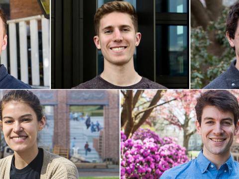 Headshots of the five Fulbright winners