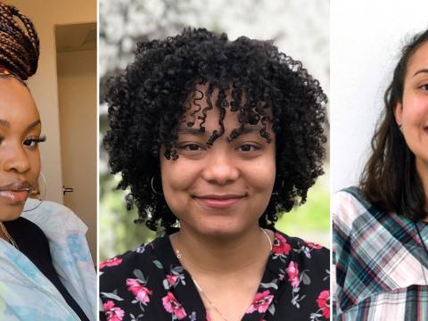 A horizontal grid of headshots of Deborah Ekwale, Mercedes Davis, and Valentina Zavala-Arbelaez.