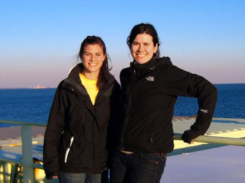 Katie Sheline '13 and Helen White on the deck on a research vessel in the Gulf of Mexico.