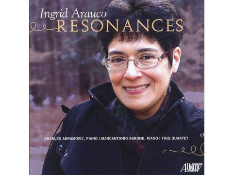 """The cover of """"Resonances"""" featuring a headshot of Ingrid Arauco"""