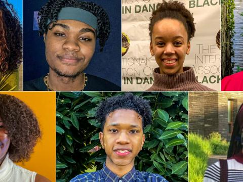 A grid of seven headshots of Black students who curated the OMA's Black History Month content and events.