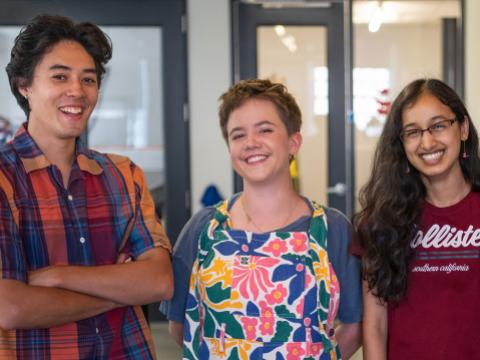 Silvan Sooksatan '21, Julia Coletti '21, Neha Thumu '24, and Isabel Ray '23 stand together in the Maker Arts Space.
