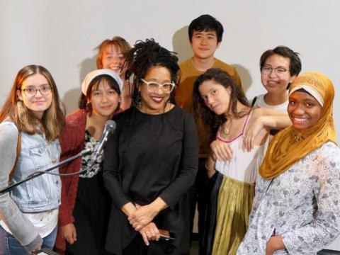 The summer Doculab fellows with friends: (From left) Sofia Mondragon BMC '22, Lexie Iglesia '21, Liz Burke BMC '23, guest artist Pamela Z, Jixin Jia '21, Bilge Nur Yilmaz '21, Alice Hu '21, and Bilikisu Hanidu '23.