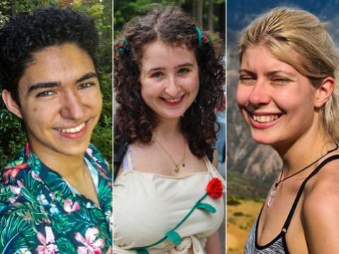 A split screen of headshots of Naren Roy, Emma Schwartz, and Alexa Horkava