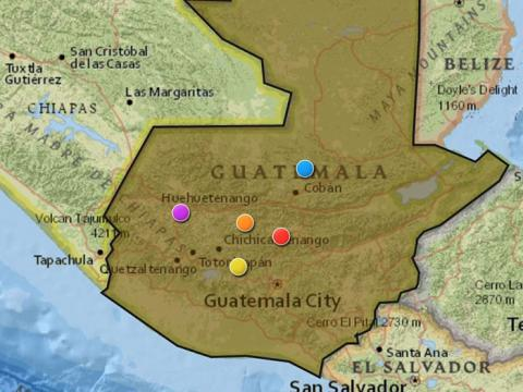 Map of Guatemala City with markers indicating exhumation sites
