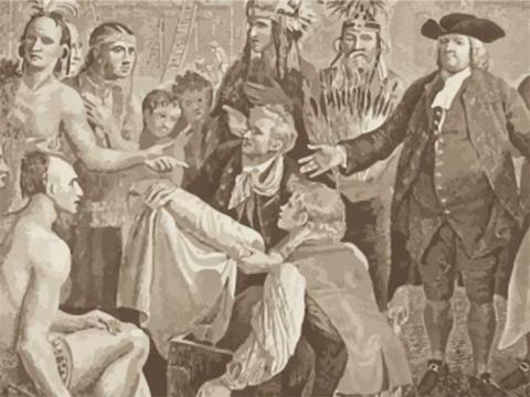 Painting of Quakers and Native Americans in a conversation