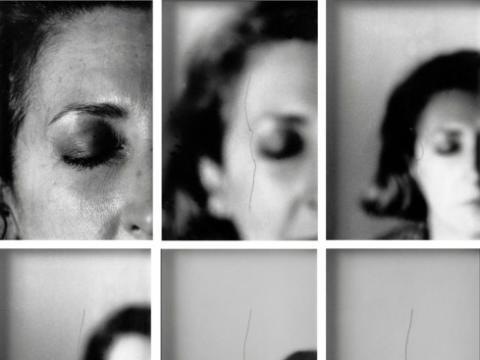 series of photos of a woman's face progressively losing focus