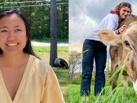 A collage of two photos--the one on the left is a headshot of April and the one on the right of Lauren.