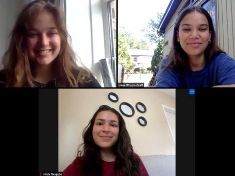 Zoom screenshot of Sophie Schleifer, Liana Wilson-Graff, and Hilda Delgado