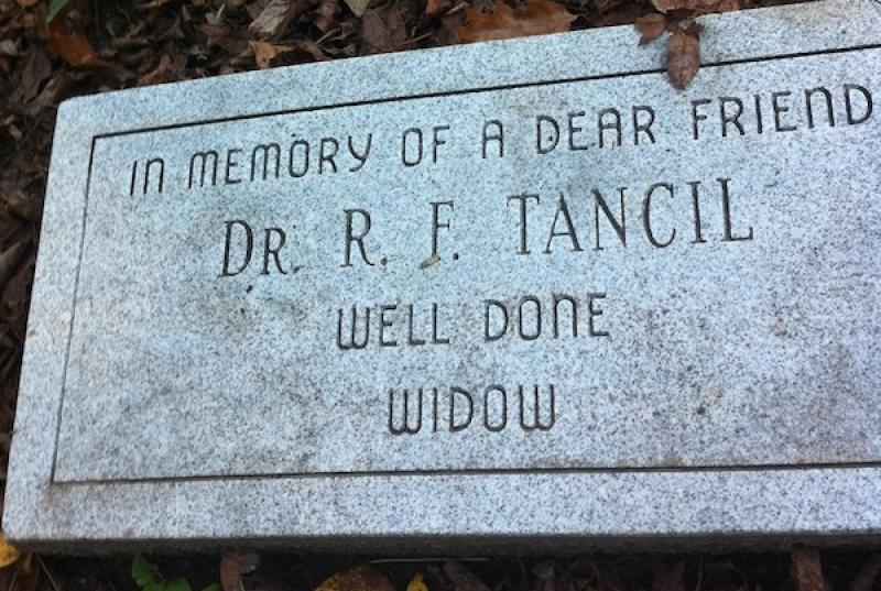 Headstone of Dr. Tancil