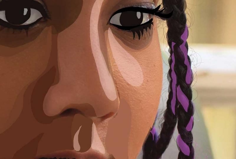 rotoscope frame of animation of a woman's grief stricken face