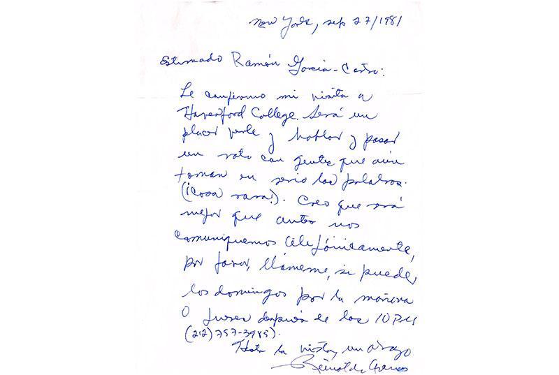 A handwritten note from Reynaldo Arenas