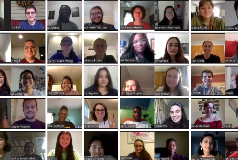 A Zoom grid of 50 student faces. These are 50 of the 60 CPGC summer interns.