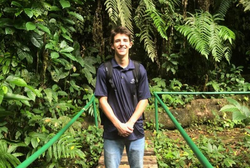 Fitz Dougherty in the rain forest where he is interning