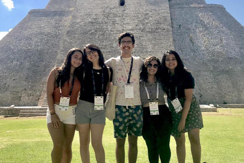 The five students at the Mayan ruins at Uxmal
