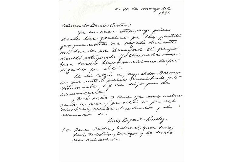 Sánchez's hand-written note