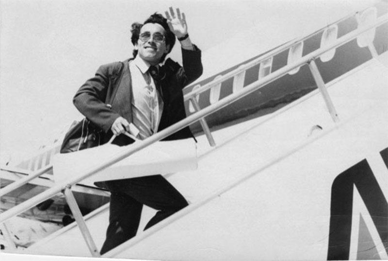Ramon boarding an airplane