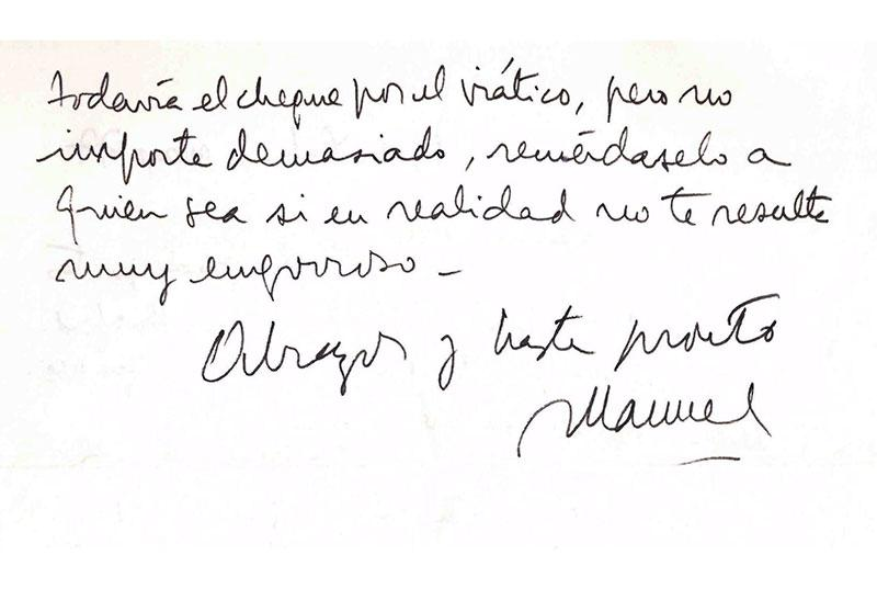 Page 2 of the handwritten note from Manuel Puig to Ramon