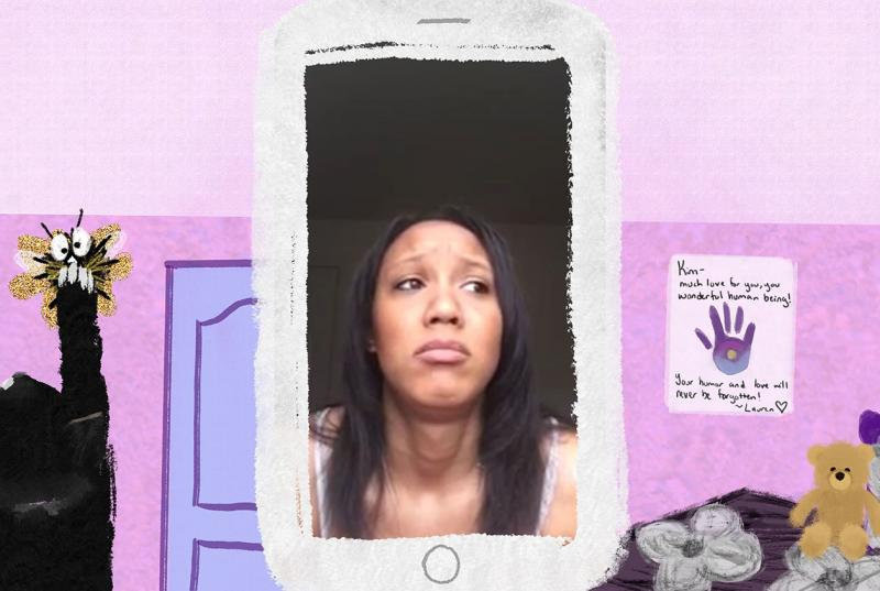 An animation of a cell phone with a photo of a woman inside it