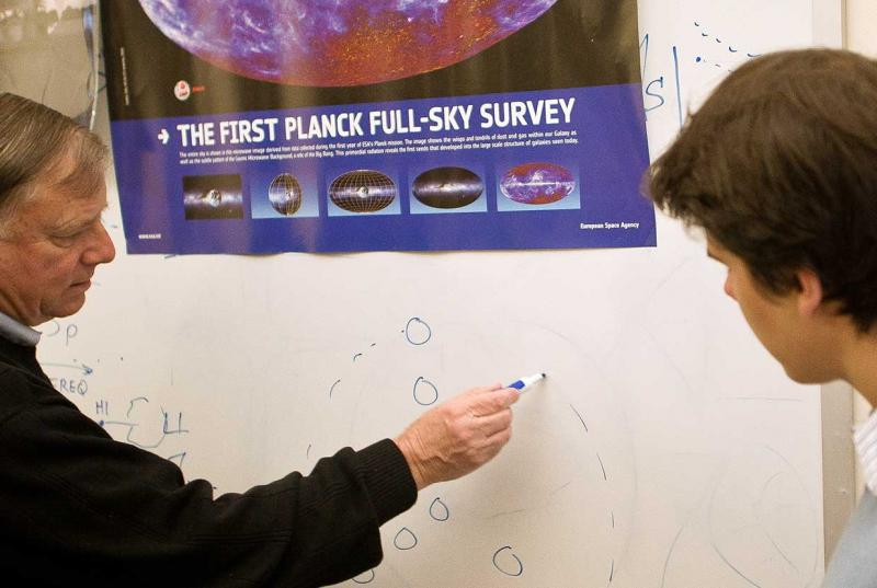 Bruce Partridge works on Planck data with student Ben Walter '13