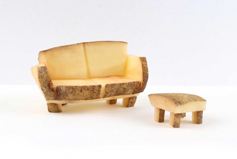 """Jessie Lamworth's """"couch"""" potato sculpture. Made of actual potato."""