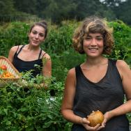 Alison Love '18 and Jahzara Heredia '16 working in the Haverfarm