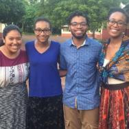 Addy Lorenzo '20, Carol Lee Diallo '19, Maurice Rippel '19, and Sabea Evans '18 in Dalun, Ghana