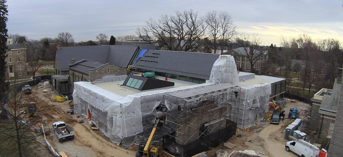 exterior of library under construction