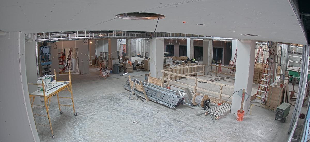 Interior of the library under construction, featuring the ceiling of the room shown now in place.